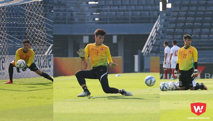 Sự tiến bộ của Bùi Tiến Dũng cũng kéo theo nỗ lực của hai thủ môn dự bị của U23 Việt Nam. Ảnh: Quang Thịnh.