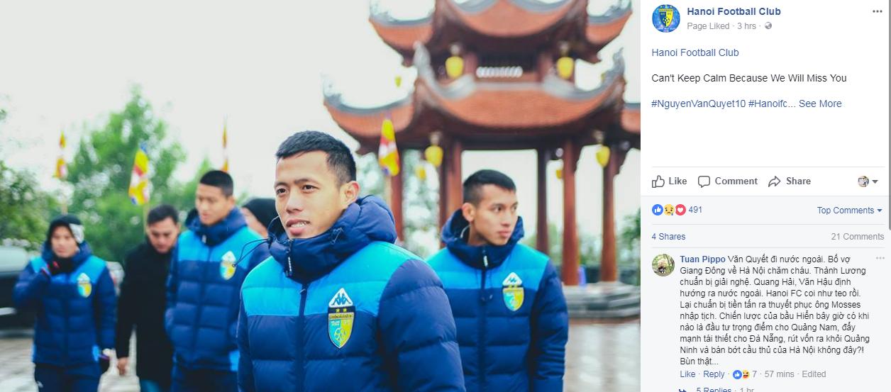 Thông tin dấy lên nhiều nghi ngờ về tương lai của Văn Quyết ở CLB Hà Nội. Ảnh: Facebook.