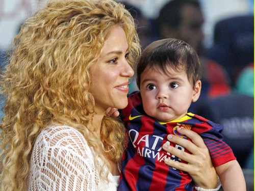 Shakira cheers on husband Gerard Pique alongside baby Milan **USA ONLY**