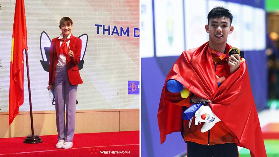Quách Thị Lan và Nguyễn Huy Hoàng cầm cờ đoàn thể thao Việt Nam tại Olympic Tokyo 2021
